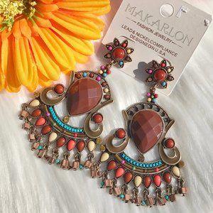 Boho Earrings Mixed Bead Goldtone Dangle Posts NWT